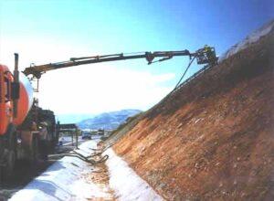 Gunitado de un talud en la A-7 en el año 1998.